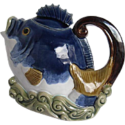 Vintage Glazed Ceramic Fish Shaped Teapot -(Majolica like) - Henriksen Imports - China - signe