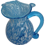 Hand-blown Clear Blue Art Glass small pitcher w/white swirls/specks - fluted - 1940's era