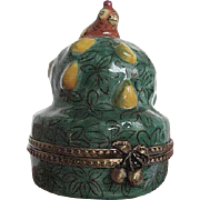 "Limoges -""Partridge in a Pear Tree"" Figurine Porcelain Trinket Box - hand-painted -"