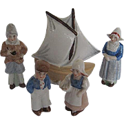 Vintage German Miniature Bisque Porcelain Dutch Family and Sailboat figurines - marked Germany