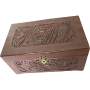 Wood hand-carved box w/Mirror, turquoise felt lining, vintage brass latch