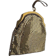 Vintage Whiting and Davis Gold Mesh Purse w/Mesh Wrist-let - 1930's era