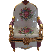 Limoges Old Fashion Chair with Roses & floral design on a white porcelain trinket box - Hand-p