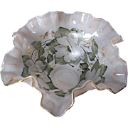 1960's Hand-painted Fluted Bowl - Soft Pink w/gorgeous white magnolias and fauna design - gold