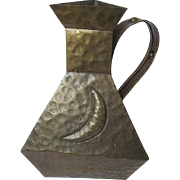 Hammered Brass colored Metal Decorative Pitcher - 1970's