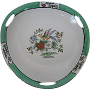 1920's Noritake Hand-painted Bird & Floral Pattern three sided open handled bowl - Gold trim -