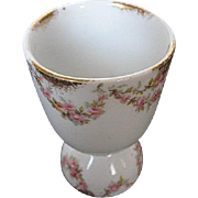 Theodore Haviland Limoges Double Egg Cup w/Pink Bridle Rose Design - late 1800's - early 1900'