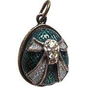 Sterling Silver and Enamel Russian Egg Pendant - Turquoise, Swarovski Crystal, w/gold plated d