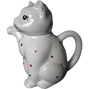 "Porcelain Hand-painted Lucky Kitty-cat ""Tea for Two"" Teapot - 1960's era"