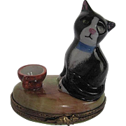 Limoges - hand-painted - Kitty sitting on an Earthtone Trinket box - made in France - LaGlorie