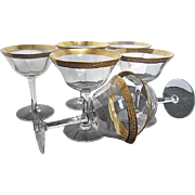 Gold Encrusted Rimmed Ribbed Cocktail/Martini stemmed Crystal Glasses w/Olive leaf Pattern - S
