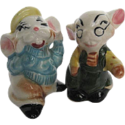 Vintage Hand-painted Porcelain Little Mice Characters Salt & Pepper Shakers - 1950's era