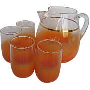 Vintage 32 oz. Brushed Orange to clear Glass Juice pitcher w/4 Matching juice glasses - 1960's