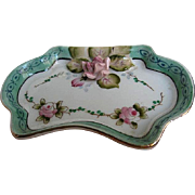 Meiko China - Hand-painted Trinket Dresser dish - with applied Porcelain Pink Rose - signed -