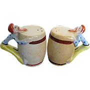 Moonshine and Mountain Men hand-painted porcelain Salt & Pepper Shakers - 1940's era