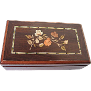 Floral and Fauna designed Cherrywood Dresser box w/mirror - hinged
