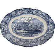 "Vintage Staffordshire of England ""Liberty Blue"" 14"" Platter - Washington crossi"