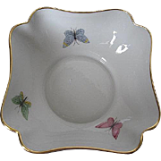Limoges Porcelain Candy Dish/Small Serving Bowl with Hand-painted Butterflies & Gold Rim - mad