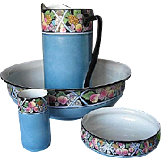 Antique Shelley of England 4pc. Porcelain Wash  Basin Set - RARE Hand-painted Fruit Pattern -