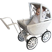 Vintage White Metal Wicker Dollhouse buggy with Doll