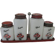 Vintage Tipp City Milk Glass Shaker Set of 4 w/Original red Tin Lids & Red ...