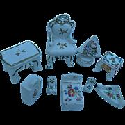 Vintage 9 pc. Hand-painted Lot of Porcelain Dollhouse Furniture - Japan