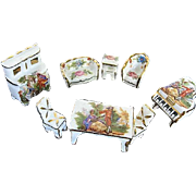 Limoges 8 pc. Miniature Hand-painted Porcelain Dollhouse Furniture Set - Made in France - ...