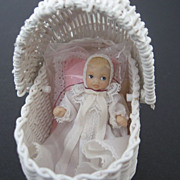 SALE Handcrafted Wicker Mini Doll Buggy - signed and labeled Barbara J. Ruemeli - 1983
