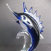 SOLD Hand Blown Art Glass Marlin/Sailfish statue = Zibo