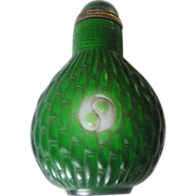 SALE Antique Chinese Carved Green Glass Snuff Bottle - 1800's