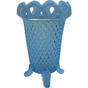 SOLD Imperial Glass - Lace Edge Sea Foam Blue Opalescent Footed Vase