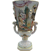 SALE Vintage Capodimonte Dresden Style Porcelain Cherubs Figure Vase - Italy