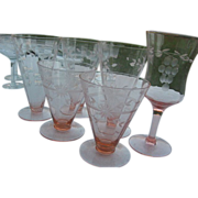 Vintage Pink Glass Footed Tumblers & Parfait Glass by Bartlett-Collins - mid 1900's