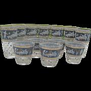 Vintage set of 12 Cera Greek Motif Blue Etruscan Tumblers & Highball Hollywood Regency Glasses