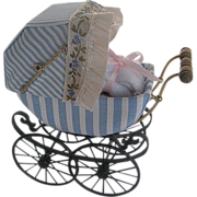 Vintage Hand-crafted Blue & White Cloth & Metal Dollhouse Buggy w/doll - by Barbara J. Ruemeli