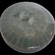 Vintage Celadon Glaze Cranes & Clouds lidded ceramic box - signed