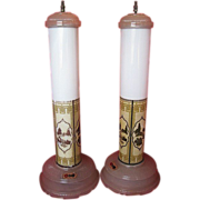 1930's Art Deco Skyscraper Set of 2 Table Lamps-All-Lite Fluorescent Table Lamp Eureka Tea Co.