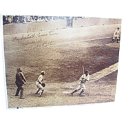 Babe Ruth 60th Home Run signed 11 x 14 print - framed w/stand