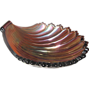Early 1900's Westmoreland Amethyst Seashell Nappy Footed Dish - pontil mark