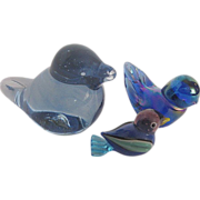 Set of three hand-blown Blue Birds- 2 signed