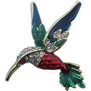 SALE Vintage Hummingbird brooch/pin w/rhinestones and stunning enameled colors