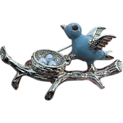 SALE Blue Bird on branch/ Nest w/faux pearl eggs pin - signed Gerry