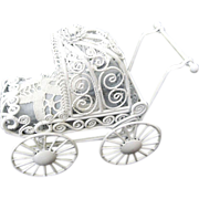 Vintage White Metal Dollhouse buggy with pillow & mattress