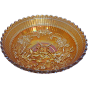 Carnival Glass Marigold Windmill Pattern Bowl - made by Imperial Glass Co.