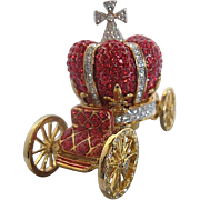 2 pc. Trinket Box Cinderella Carriage - Red & Clear Rhinestones on Brass