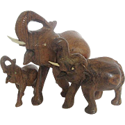 3 Hand-carved Wood Elephant Family