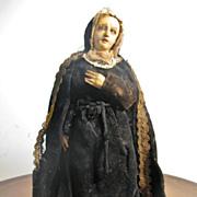 "NEAPOLITAN Painted Terracotta, Wood Paper Mache Mae Dolorosa 12"""