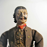 """NEAPOLITAN Mustached Male Painted Terracotta And Wood CRECHE Figure 16"""""""