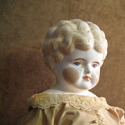 """SOLD 21"""" Blond China Head Doll"""
