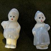 "2 Vintage Miniature Porcelain Delft Boy and Girl 1.5"""